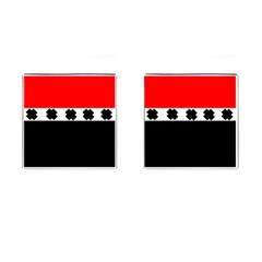 Red, White And Black With X s Design By Celeste Khoncepts Cufflinks (Square) by Khoncepts