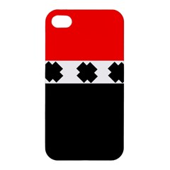 Red, White And Black With X s Design By Celeste Khoncepts Apple iPhone 4/4S Hardshell Case by Khoncepts