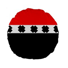 Red, White And Black With X s Design By Celeste Khoncepts 15  Premium Round Cushion  by Khoncepts