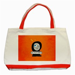 Orange Funny Too Much Coffee Classic Tote Bag (red) by CreaturesStore
