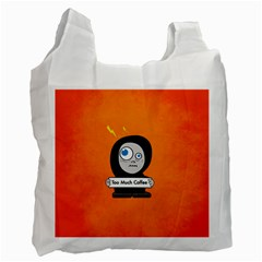 Orange Funny Too Much Coffee White Reusable Bag (one Side) by CreaturesStore