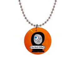 Orange Funny Too Much Coffee Button Necklace by CreaturesStore
