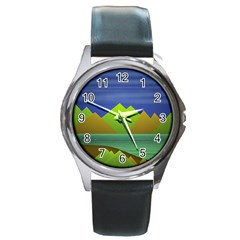 Landscape  Illustration Round Leather Watch (silver Rim) by dflcprints