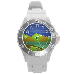 Landscape  Illustration Plastic Sport Watch (large) by dflcprints