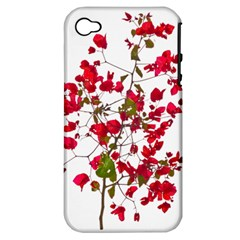 Red Petals Apple Iphone 4/4s Hardshell Case (pc+silicone) by dflcprints