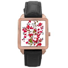 Red Petals Rose Gold Leather Watch  by dflcprints