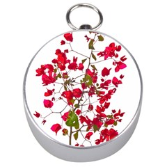 Red Petals Silver Compass by dflcprints