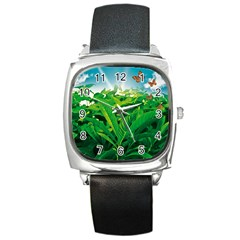 Nature Day Square Leather Watch by dflcprints