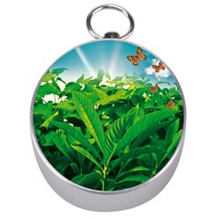 Nature Day Silver Compass by dflcprints