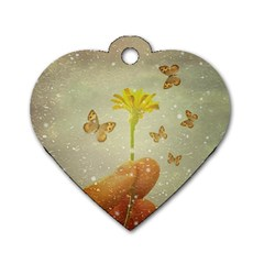 Butterflies Charmer Dog Tag Heart (one Sided)  by dflcprints