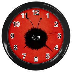 Red Cute Dazzled Bug Wall Clock (black) by CreaturesStore