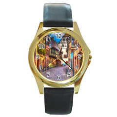 Alsace France Round Leather Watch (gold Rim)  by StuffOrSomething