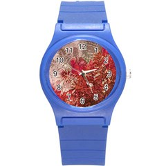 Decorative Flowers Collage Plastic Sport Watch (small) by dflcprints