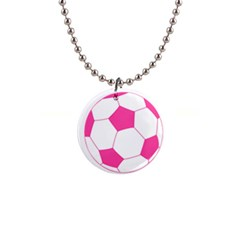 Soccer Ball Pink Button Necklace by Designsbyalex
