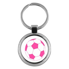 Soccer Ball Pink Key Chain (round) by Designsbyalex