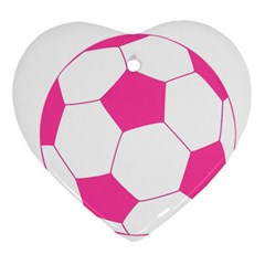 Soccer Ball Pink Heart Ornament (two Sides) by Designsbyalex