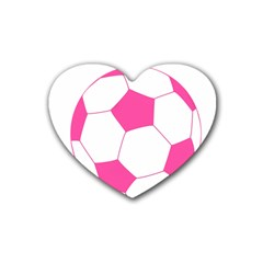 Soccer Ball Pink Drink Coasters 4 Pack (heart)  by Designsbyalex