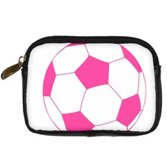 Soccer Ball Pink Digital Camera Leather Case by Designsbyalex