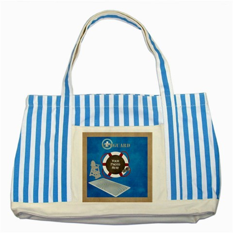 Lifeguard Tote By Lisa Minor   Striped Blue Tote Bag   8zb8fgq48aeg   Www Artscow Com Front