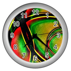 Multicolored Modern Abstract Design Wall Clock (silver) by dflcprints