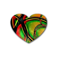 Multicolored Modern Abstract Design Drink Coasters (heart) by dflcprints