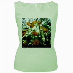Yellow Flowers Women s Tank Top (Green) by SaraThePixelPixie
