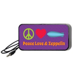 Peace Love And Zeppelin Portable Speaker (black) by SaraThePixelPixie