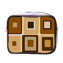 Retro Coffee Squares Mini Travel Toiletry Bag (one Side) by SendCoffee