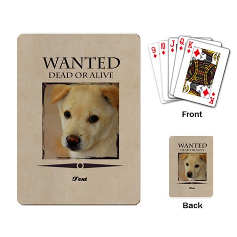 Wanted By Divad Brown   Playing Cards Single Design   55v06rwe7fpp   Www Artscow Com Back