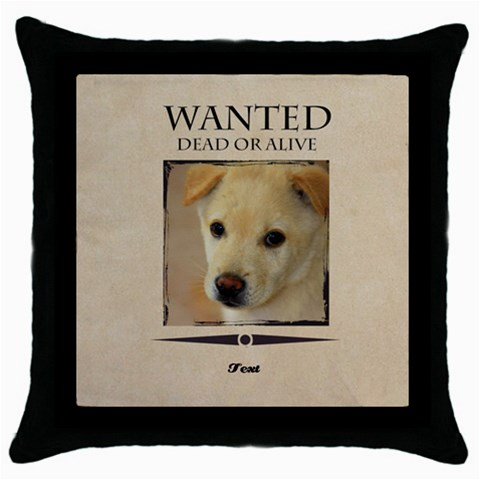 Wanted By Divad Brown   Throw Pillow Case (black)   Wqq2hamq840o   Www Artscow Com Front