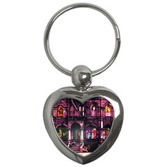 Physical Graffitied Key Chain (heart) by SaraThePixelPixie