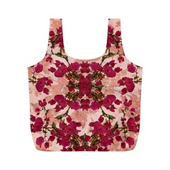Retro Vintage Floral Motif Reusable Bag (m) by dflcprints