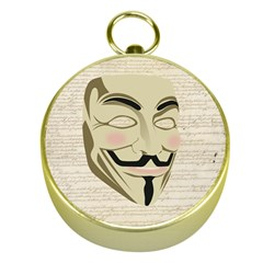We The Anonymous People Gold Compass by StuffOrSomething