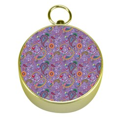 Purple Paisley Gold Compass by StuffOrSomething