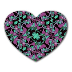 Floral Arabesque Pattern Mouse Pad (heart) by dflcprints