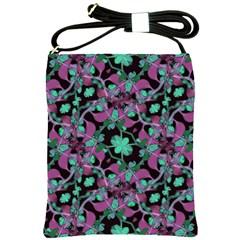 Floral Arabesque Pattern Shoulder Sling Bag by dflcprints
