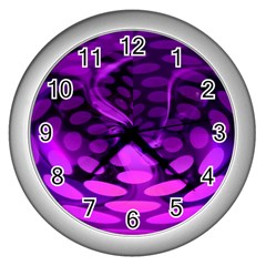 Abstract In Purple Wall Clock (silver) by FunWithFibro