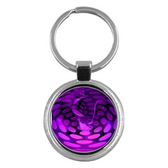 Abstract In Purple Key Chain (round) by FunWithFibro
