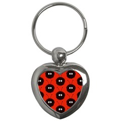 Red Cute Dazzled Bug Pattern Key Chain (heart) by CreaturesStore