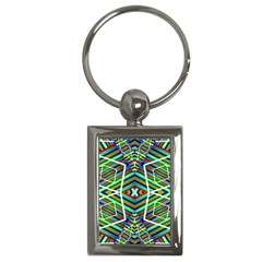 Colorful Geometric Abstract Pattern Key Chain (rectangle) by dflcprints