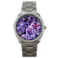 Purple Wildflowers Of Hope Sport Metal Watch by FunWithFibro