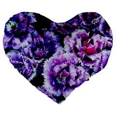 Purple Wildflowers Of Hope 19  Premium Heart Shape Cushion by FunWithFibro