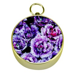 Purple Wildflowers Of Hope Gold Compass by FunWithFibro