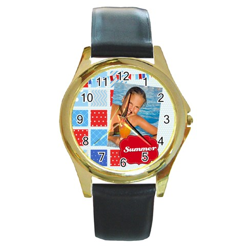 Summer By Summer Time    Round Gold Metal Watch   Wj4q8d0sbzsw   Www Artscow Com Front