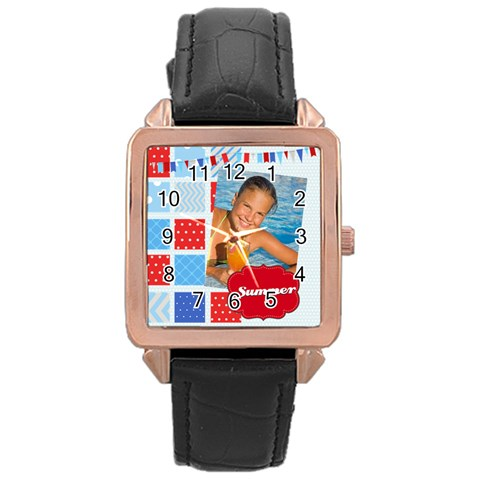 Summer By Summer Time    Rose Gold Leather Watch    O211swq7fxpq   Www Artscow Com Front