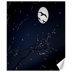Night Birds And Full Moon Canvas 8  X 10  (unframed) by dflcprints