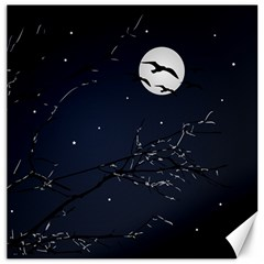 Night Birds And Full Moon Canvas 12  X 12  (unframed) by dflcprints