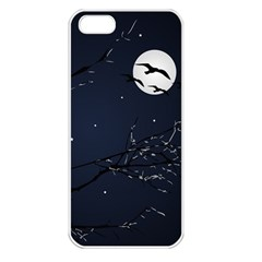 Night Birds And Full Moon Apple Iphone 5 Seamless Case (white) by dflcprints