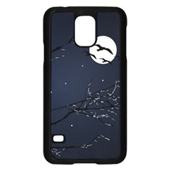Night Birds and Full Moon Samsung Galaxy S5 Case (Black) by dflcprints