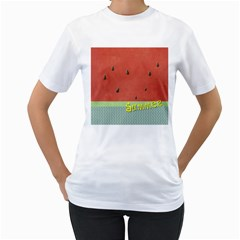 Watermelon By Arts    Women s T Shirt (white) (two Sided)   V1i7gqkyv49l   Www Artscow Com Front